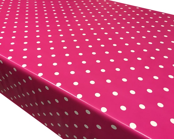 Mushroom Grey Polka Dot Spots PVC Vinyl Wipe Clean Tablecloth Oilcloth ALL SIZES