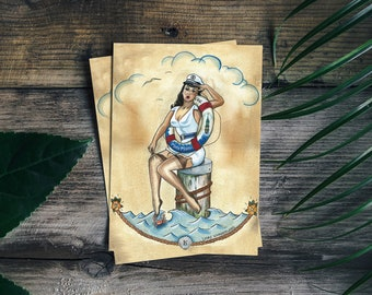 Postcard Sailor Pin-up