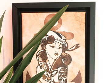 framed art print Sailor pin-up with anchor