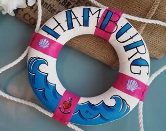 """Small painted rescue ring """"Hamburg""""-100% Handmade & Original"""