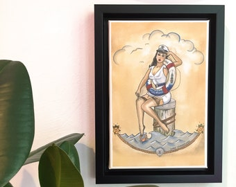 Framed Art Print Hello Sailor Pin-Up with Life Ring