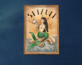 Mermaid Artprint on canvas 30 x 40 cm