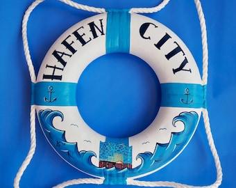 """Unique! Kl. painted life ring """"Hafencity / Elbphilharmonie"""" - 100% Handmade & ORIGINAL"""