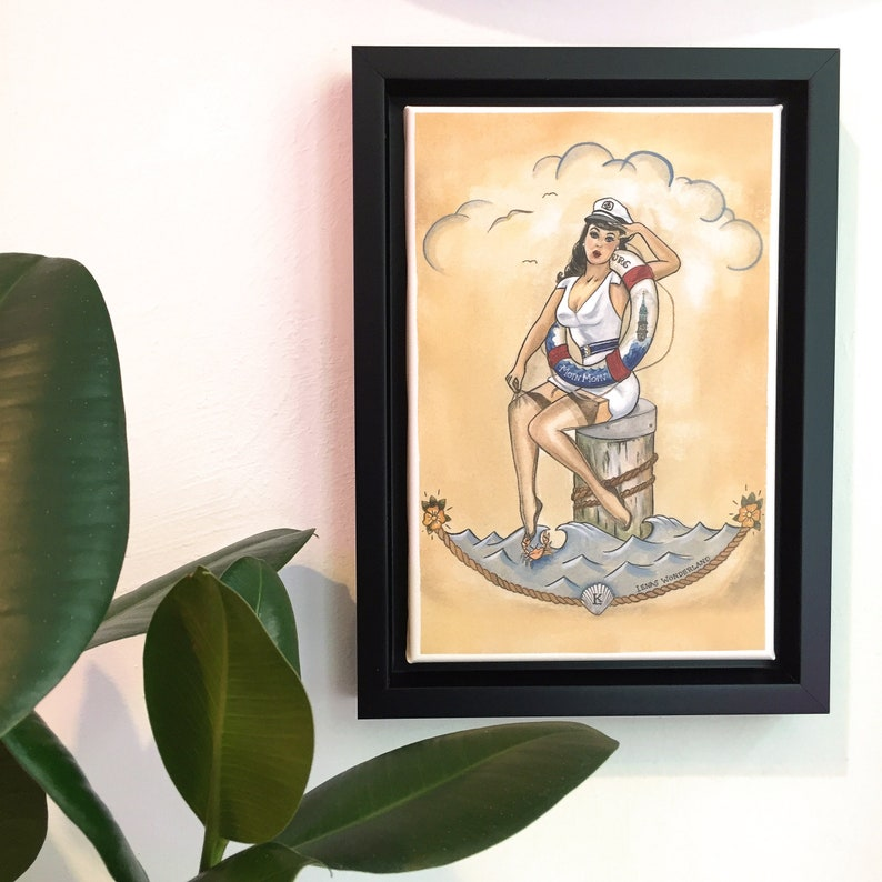 Framed Art Print Hello Sailor Pin-Up with Life Ring image 0