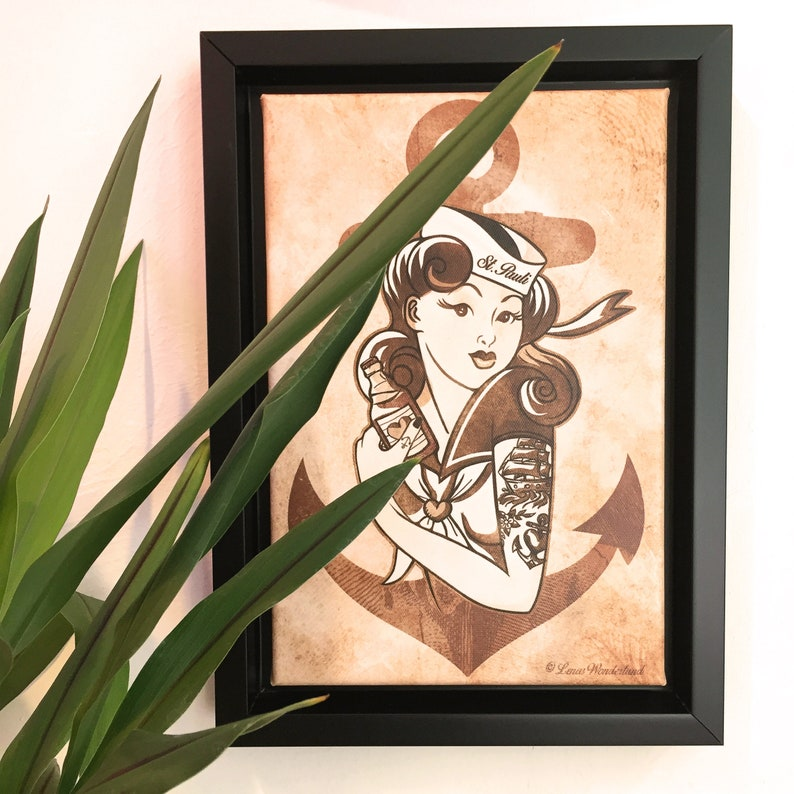 framed art print Sailor pin-up with anchor image 0