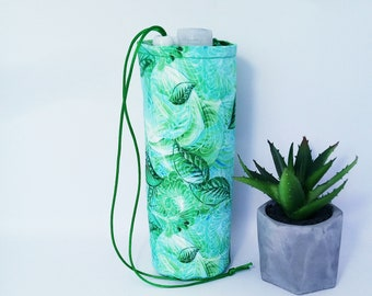 Water bottle holder  fresh greenery trees leaves  print Cotton bottle holder water bottle bag pocket for bottel