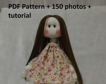 Cloth doll PDF pattern tutorials, 16 inc handmade doll pattern, Sewing Patterns Tutorial, 40 cm fabric doll pattern tutorial