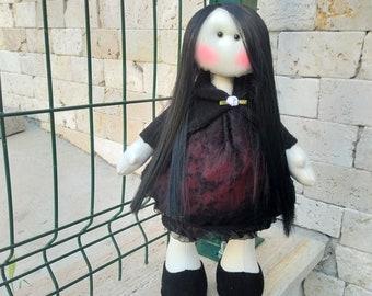Cloth doll 40 cm, 16 inc Fabric doll, Rag doll, Black doll, Decorative doll, textile doll, tilda doll, gitf for her, home decor