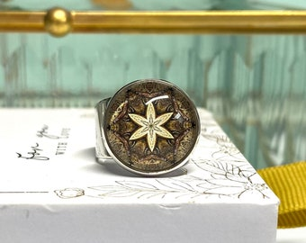 Silver-plated wide ring with mandala motif boho