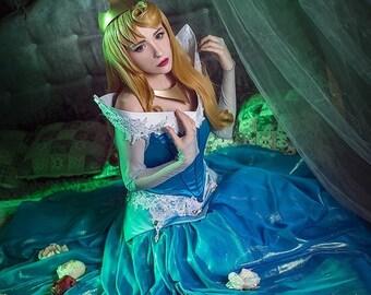 20e9ba307e91e Sleeping Beauty Aurora Disney cosplay costume dress made to order handmade