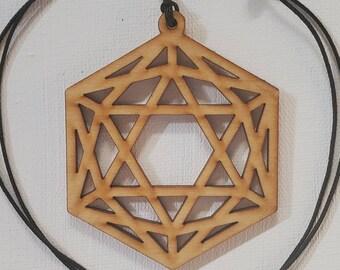 Laser Cut Wood Pendant - Sacred Geometry - Icosahedron Necklace