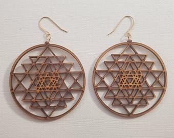 Laser Cut Earrings - Sacred Geometry - Sri Yantra - Birch Wood - 14k Gold - Medium with Circle