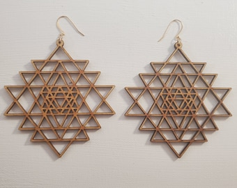 Laser Cut Earrings - Sacred Geometry - Sri Yantra - Birch Wood - 14k Gold - Large