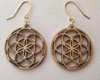 Laser Cut Earrings - Sacred Geometry - Seed of Life - Birch Wood - 14k Gold - Small