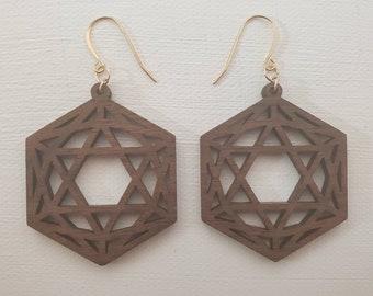 Laser Cut Earrings - Sacred Geometry - Icosahedron - Black Walnut Wood - 14k Gold - Small