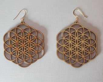 Laser Cut Earrings - Sacred Geometry - Seed of Life - Flower of Life - Birch Wood  - 14k Gold - Large