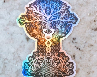 Holographic Sacred Geometry Sticker - Tree of Life ~ Noya Rao ~ Flying Tree of Light