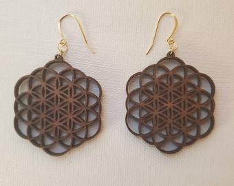 Laser Cut Earrings - Sacred Geometry - Flowering Seed of Life - Black Walnut - Flower of Life -  14k Gold - Small
