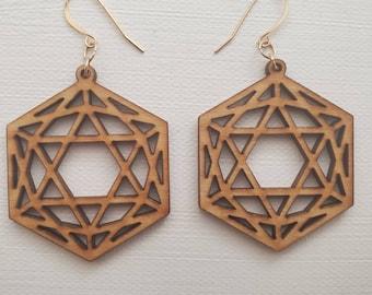 Laser Cut Earrings - Sacred Geometry - Icosahedron - Birch Wood - Small