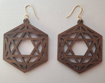 Laser Cut Earrings - Sacred Geometry - Icosahedron - Black Walnut - 14k Gold  - Medium