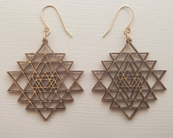 Laser Cut Earrings - Sacred Geometry - Sri Yantra - Birch Wood - 14k Gold - Small