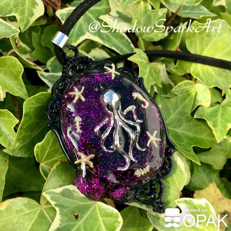 Drippy Octopus Necklace with Purple Galaxy Glitter Seahorse and Starfish Detail Made to Order FREE SHIPPING