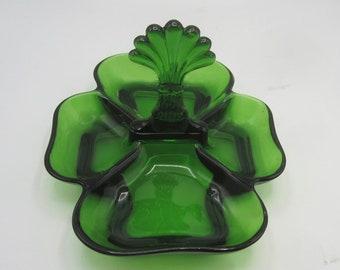 Cambridge Green 4 Section Plume Center Handled Relish or Server - Elegant Depression Glass