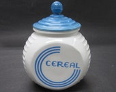 Fire King Vitrock Blue Circle CEREAL Glass Canister - Depression Kitchen Storage Jar