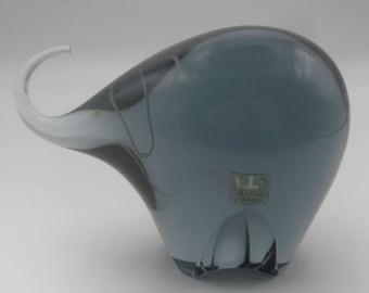 Mid Century Kosta Smoke Grey Glass Elephant - Signed Vicke Lindstrand - Sweden