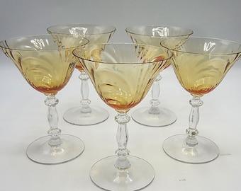 5 Cambridge Caprice Mocha Champagne Coupe Glasses - Amber Elegant Depression Stems