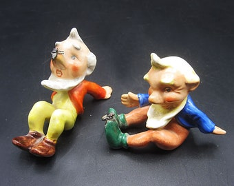Unusual Gnome Figurines with Metal Fly - Germany Porcelain