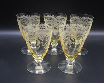 5 Fostoria June Etch Topaz Yellow 5 oz Footed Juice Tumblers - Elegant Depression Glass