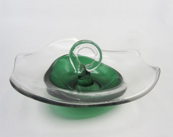 Mid Century Modern Canton Casual Line Glass Bowl with Unique Thick Applied Green Glass - Amoeba shape