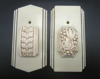 1940s Art Deco Ivory Bakelite Catalin Decorative Switch Plate Covers - 2 Designs Old House or Inn Restoration