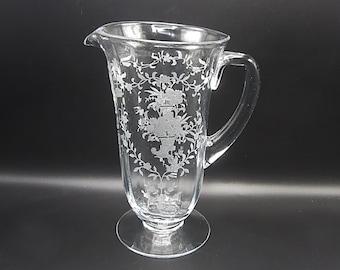 Fostoria Mayflower Etch Large Pitcher - 5000 Jug 48 oz - Elegant Depression Glass