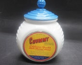 RARE Fire King Vitrock Blue Circle CEREAL Glass Canister Chummy Advertising