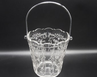 Cambridge Chantilly Etch Ice Bucket 3900 - Elegant Depression Glass Barware