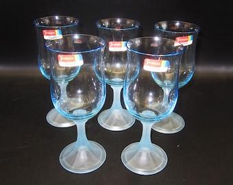 5 Fostoria ICICLES 9 oz Wine Glasses - Blue Bowl, Blue Frosted Base - Original Labels - Unused