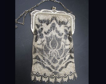 Signed Whiting Davis Deco Black & Ivory Mesh Purse Antique Handbag 1920s