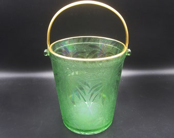 Fostoria Green Palm Brocade Iridescent Ice Bucket - 1920s Elegant Depression Glass