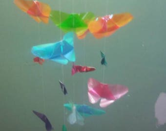 Beautiful 30 Butterfly Origami Mobile With Shiny Foil Translucent And Iridescent Papers