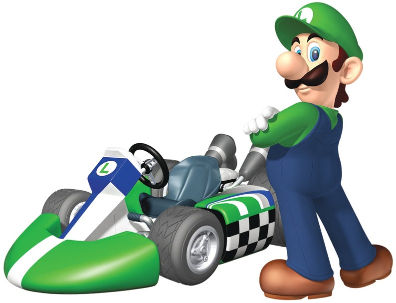 6 Inch Luigi Decal Super Mario Kart Wii Bros Brothers Removable Wall  Sticker Art Nintendo 64 SNES Home Kids Room Decor 6 by 4 1/2 inches