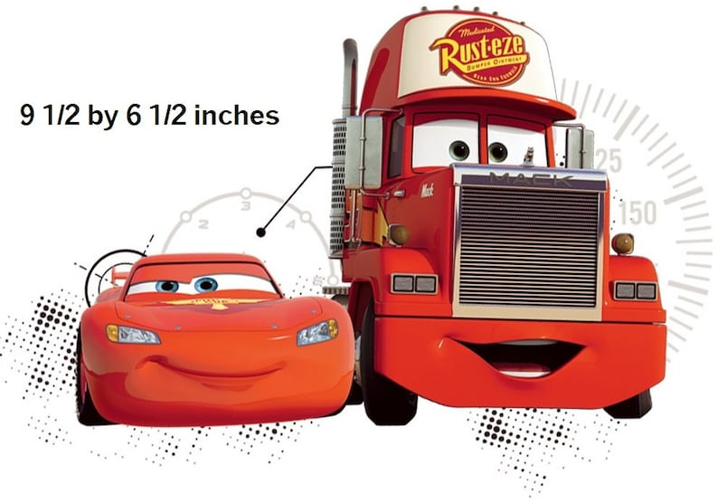 10 Inch Lightning McQueen /& Mack Truck Decal Disney Cars Movie Removable Peel Self Stick Wall Sticker Boys Room Decor 9 12 by 6 12 inch