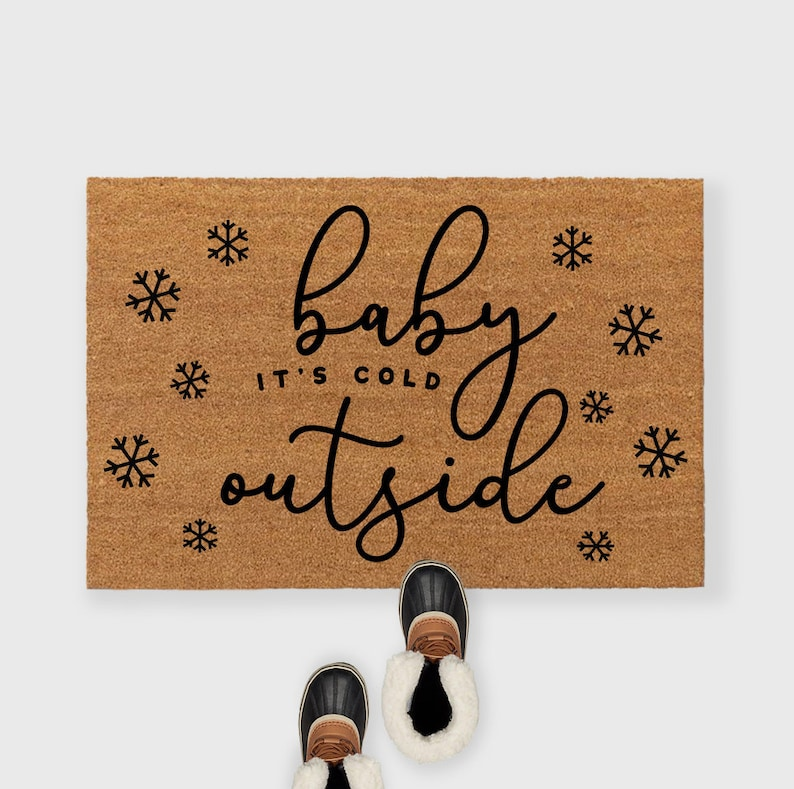 Baby its cold outside doormat Christmas doormat Christmas image 0