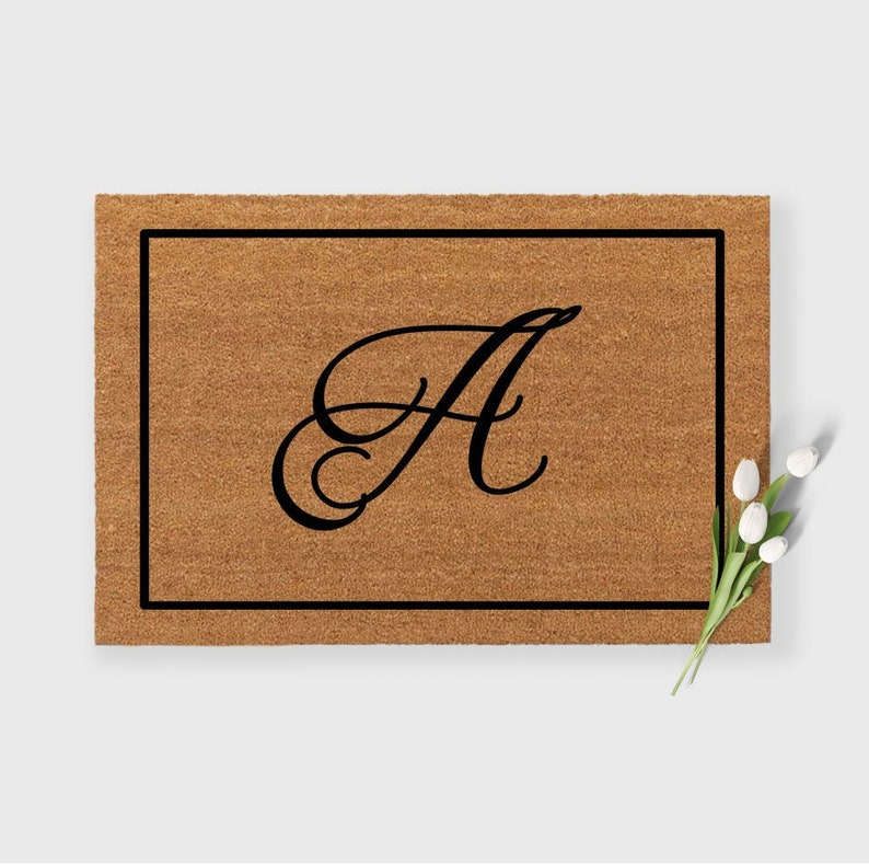Monogram Doormat,Monogrammed doormat,Elegant Doormat,Cursive Initial Doormat,Initial Doormat,Estate Doormat,Personalized Doormat,Border mat
