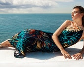 One shoulder Grecian dress, Ancient Greece dress, Maxi leaf print dress, Blue long summer printed dress, Boho chic bridesmaid dress