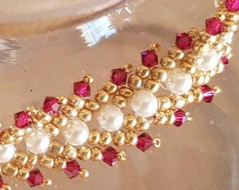 Bracelet white gold and Fuchsia