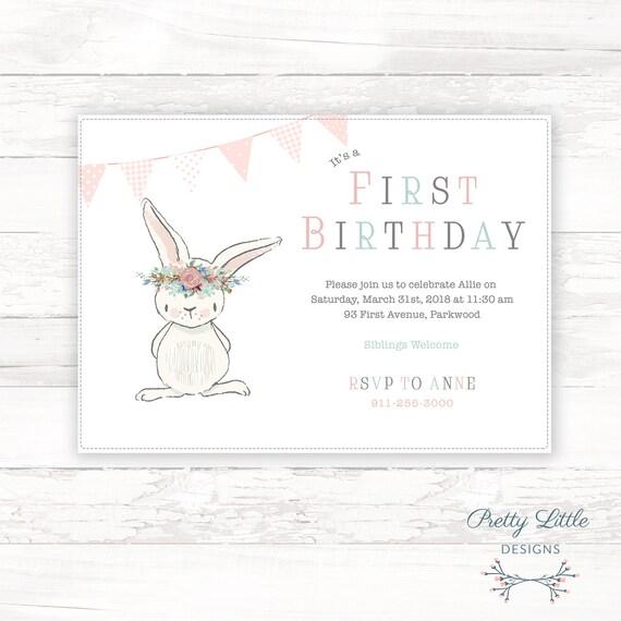 Bunny Baby Birthday Invitation Template
