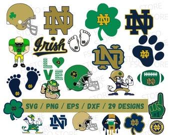 ND Irish 29 files Svg, NCAA Football Svg, Fighting Irish Bundles, Designs, Cutting file, Vector Clipart, Digital Download, ND University