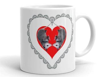 Possum Mug, Opossum Mug, Valentine's Day Mug,Red heart Mug, Heart mug, Love Mug, Lace Heart
